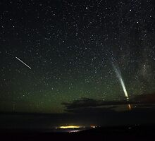 Magnificent Comet Lovejoy and the Space Station by Wayne England