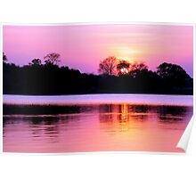 Sunset on Kafue River, Zambia Poster