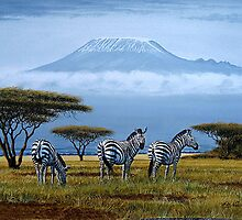 Zebras at the foot of Mount Kilimanjaro by Mutan
