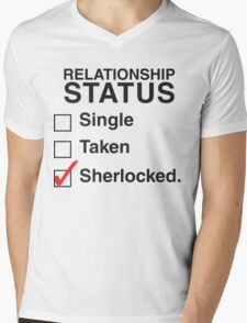 SINGLE TAKEN SHERLOCKED Mens V-Neck T-Shirt
