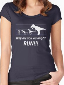 run you idiot!! Women's Fitted Scoop T-Shirt