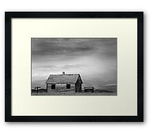 Rustic Rural House in the Country BW Framed Print