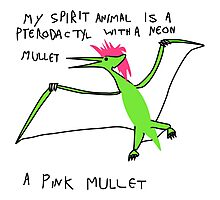Pterodactyl With Mullet Spirit Animal Photographic Print