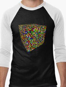 Rubik Menger Sponge, three iterations. Resistance is futile. Men's Baseball ¾ T-Shirt