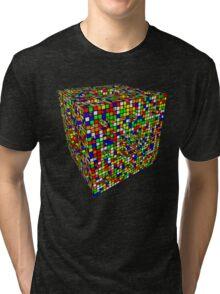 Rubik Menger Sponge, three iterations. Resistance is futile. Tri-blend T-Shirt