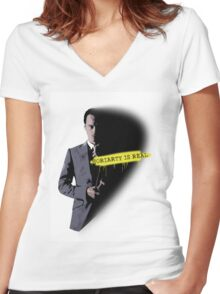 MORIARTY WAS REAL! Women's Fitted V-Neck T-Shirt