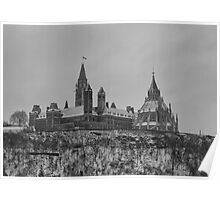 Parliament in the snow - Ottawa, Ontario Poster
