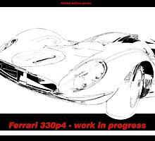 Ferrari 330 p4 hand-drawing by Vittorio Magaletti