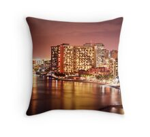 2012 Waikiki Beach, Honolulu HI | Night Throw Pillow