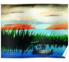 Fishing in the Reeds at sunset, watercolor Poster