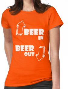 Beer in, Beer out. White Womens Fitted T-Shirt