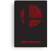 Super Smash Bros. Typography Canvas Print