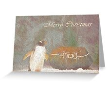 Cave Dweller Penguin (With Rock Gift) Greeting Card