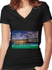 Boat on Hudson Women's Fitted V-Neck T-Shirt