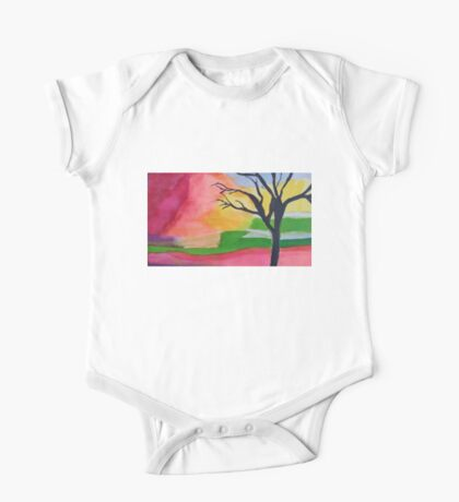 Tree In An Abstract Sunset One Piece - Short Sleeve