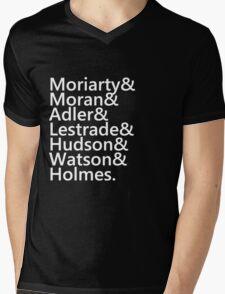 Sherlock Names (Black) Mens V-Neck T-Shirt