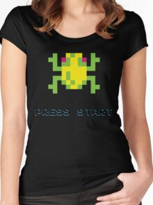 FROGGER RETRO PRESS START ARCADE TSHIRT Women's Fitted Scoop T-Shirt