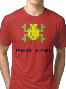 FROGGER RETRO PRESS START ARCADE TSHIRT Tri-blend T-Shirt