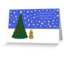 Some Bunny Christmas (With Tree & Stars) Greeting Card