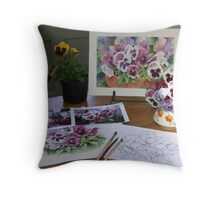 After the Pansies workshop Throw Pillow