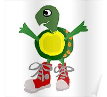 Funny Cool Green Turtle with Red High Top Shoes Poster