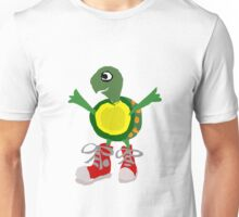 Funny Cool Green Turtle with Red High Top Shoes Unisex T-Shirt