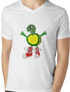 Funny Cool Green Turtle with Red High Top Shoes Mens V-Neck T-Shirt