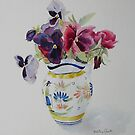 Pansies in Quimper pot by Beatrice Cloake Pasquier