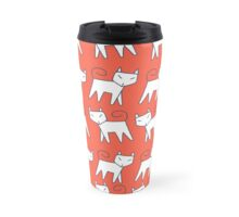 Pattern white cat running in a row Travel Mug