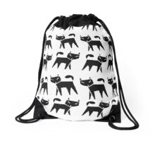 Pattern black cat running in a row Drawstring Bag