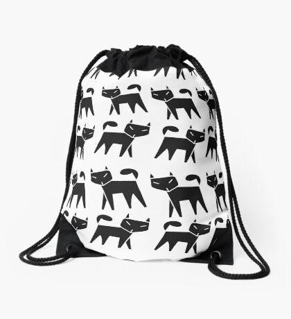 Pattern black cat running in a row Drawstring Bag