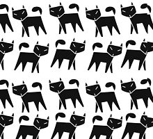 Pattern black cat running in a row by Kapitosh