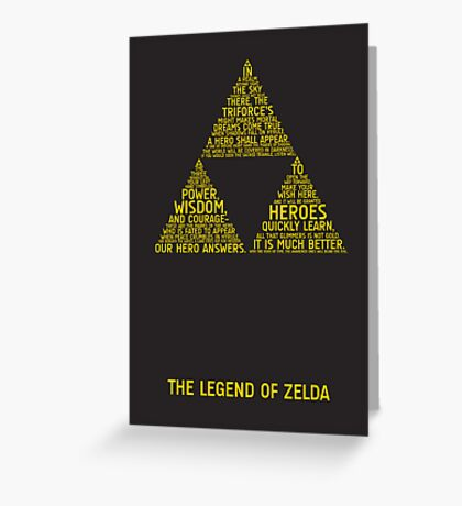 Legend of Zelda Typography Greeting Card