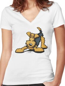 Airedale @ Play Women's Fitted V-Neck T-Shirt