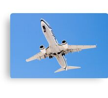 Belly shot of an Alaska Airlines Boeing 737 Canvas Print