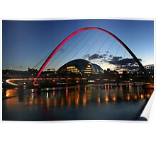 Newcastle Bridges and Sage Building at night Poster
