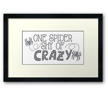 One spider shy of CRAZY Framed Print