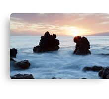 Frothy seas and rocks Canvas Print