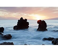 Frothy seas and rocks Photographic Print