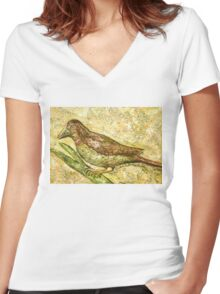 A bird the surprise visitor Women's Fitted V-Neck T-Shirt
