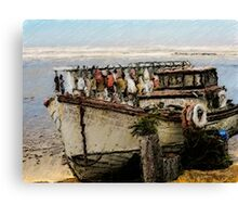 Painting An Old Fishing Boat Canvas Print