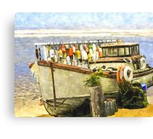 Watercolor Of An Old Fishing Ship Canvas Print