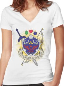 It's dangerous to go alone! Women's Fitted V-Neck T-Shirt