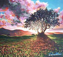 Sun behind tree by Dan Wilcox