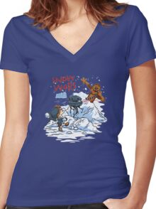 Calvin And Hobbes snow-wars Women's Fitted V-Neck T-Shirt