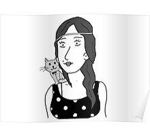 Polka-dot dress and Cat Poster