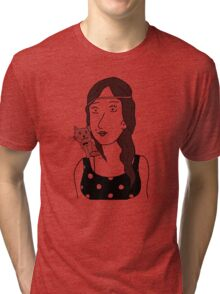 Polka-dot dress and Cat Tri-blend T-Shirt