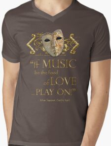 Shakespeare Twelfth Night Love Music Quote Mens V-Neck T-Shirt