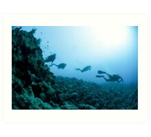 Scuba divers in the water  Art Print