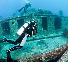 Divers at a shipwreck at Ras Mohammed National Park by PhotoStock-Isra